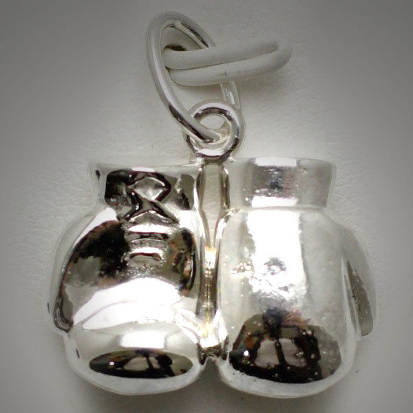 Sterling Silver Boxing Glove Pair Large Joined Reversed