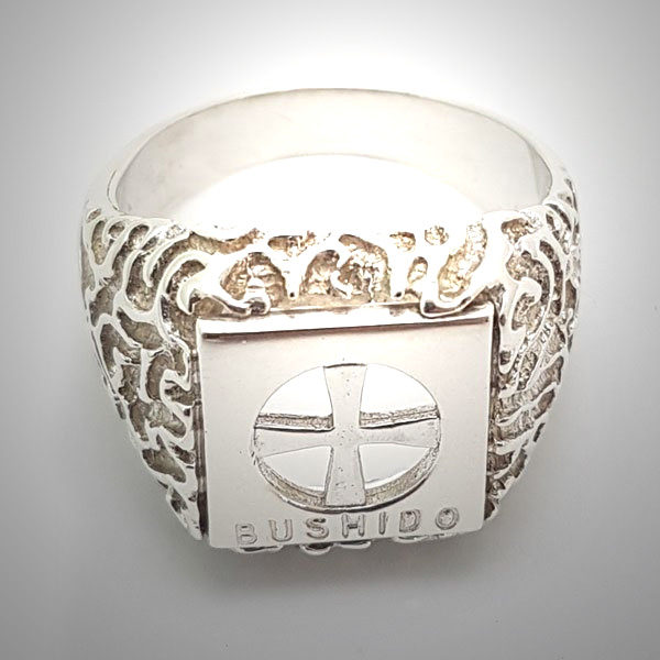 Bushido Cross Ring in Sterling Silver or 9 ct Gold (W)