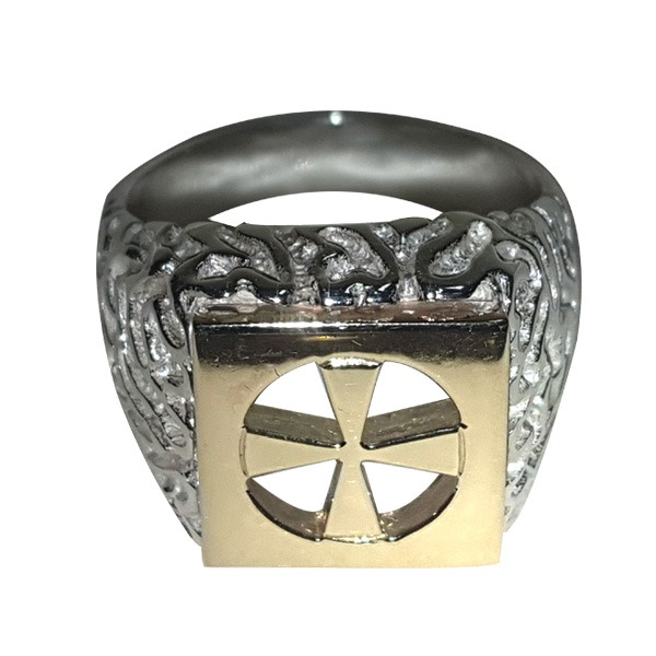 Bushido Cross-Ring in Silver with Gold